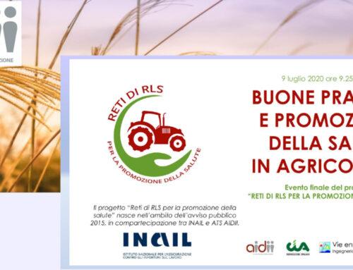 Buone pratiche e promozione della salute in agricoltura. Appuntamento in webinar il 9 luglio